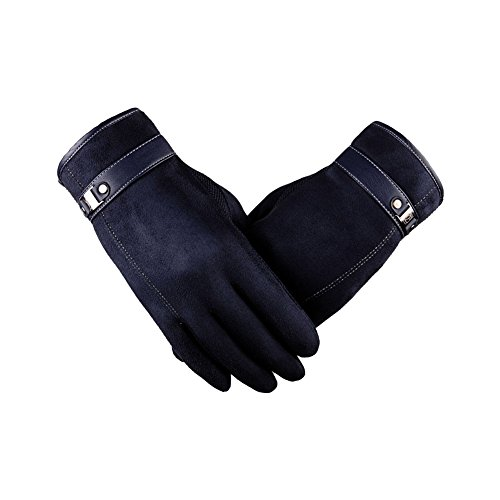 Men Screen Warm Winter Male Faux Suede Glove For Smart Phone Motorcycle (Headdress Faux Suede)