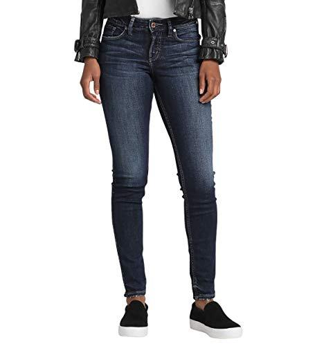 (Silver Jeans Co. Women's Suki Curvy Fit Mid Rise Skinny Jeans, Power Stretch Dark Indigo 34x31)