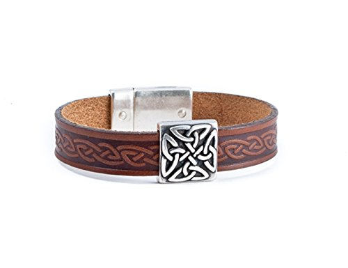 Biddy Murphy Irish Leather Bracelet Celtic Knot Charm Brown 8 Inches Unisex Made in - Bracelet Celtic Bangle