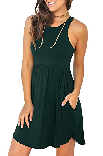 Unbranded* Women's Sleeveless Loose Plain Dresses Casual Short Dress with Pockets Dark Green Large