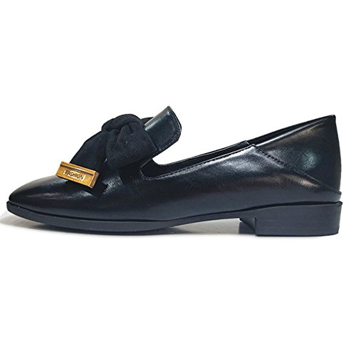 Btrada Womens Classic Bowknot Slip On Penny Mocassini Punta Quadrata Mocassini Driving Shoes Scarpe Casual Piatte Nere