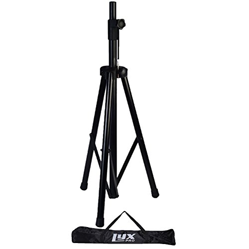 "LyxPro SKS-1 Tripod Speaker Stand with Carrying Bag, Adjustable Height, Folding Tripod Design, Non Slip Feet, Locking Knob and Pin, Fits Speakers w/ 1-3/8"" and 1-1/2"" (Speaker Stand Carrying Bag)"