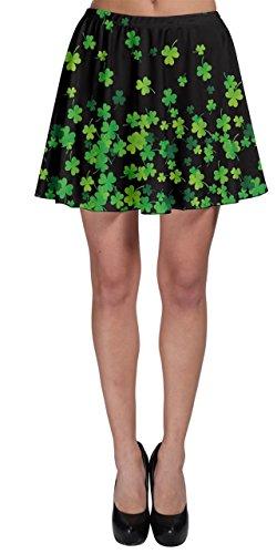 CowCow Womens Shamrock Flow Dark Skater Skirt, Dark Green - M -
