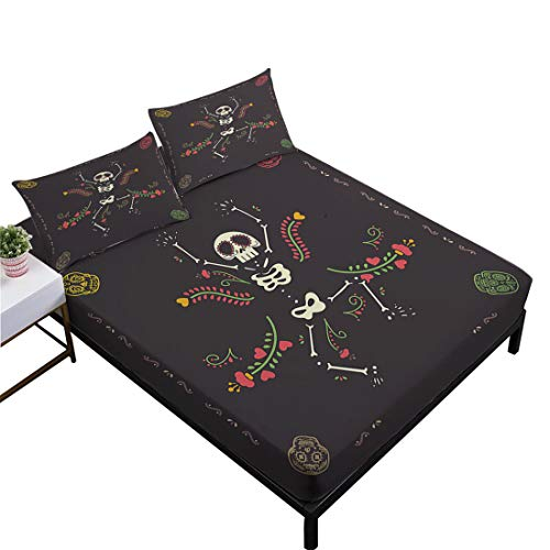 Oliven Sheets Twin Size,Black Fitted Sheet Set Twin Funny Dance Skull Bedding Set 3 Pieces Halloween The Day of The Dead Decor by Oliven