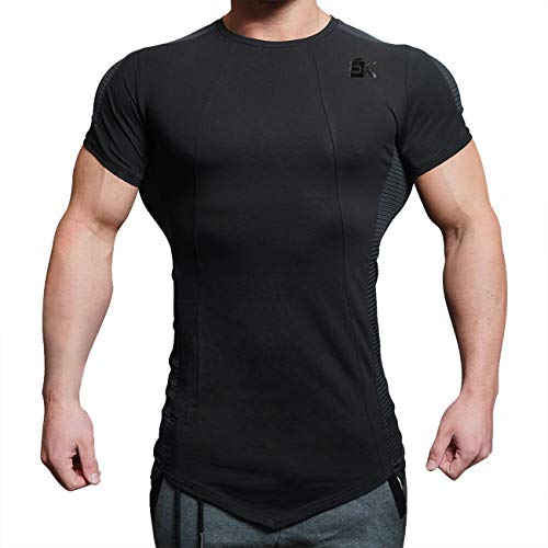 BROKIG Mens Gym Running Compression Top Bodybuilding Fitness Base Layers Short Sleeves T Shirts (L, Black) (Advantage Pique Knit)