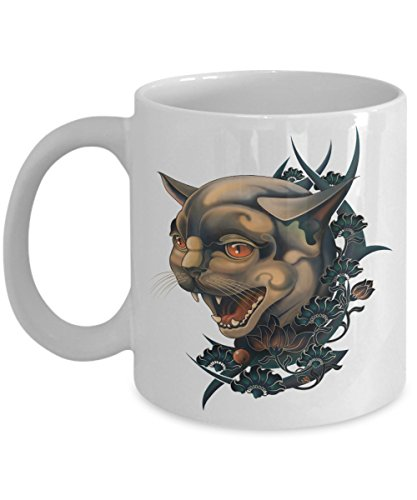 Tattoo mug | Yellow-Eye Lynx, Coffee Lover Gifts, Tattoos Mug, tattoo Decor, Tattoo Artist Gift, Funny Mugs - 11 Oz Coffee Mug