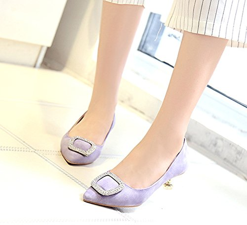 Arbeit Sexy Strass Kitten Slip On Heel Zehen Low Violett Dekor Für Aisun Damen Top Pumps Spitz awxq56wp4