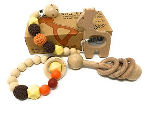 Tamy Bly Teething and Rattle,Play and Gift Set|5pc BPA Free Natural Wood and Silicone Teething Pacifier Clip and Holder, Teething Bracelet, Teethers and Montessori Styled Baby Rattle (Safari Bold)