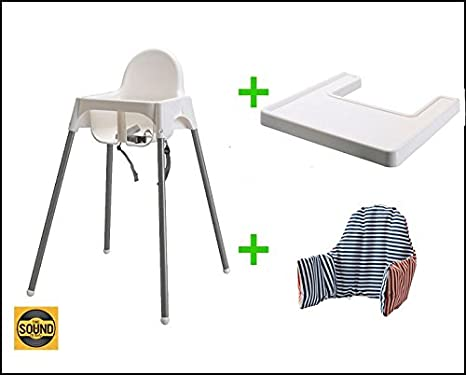 cintur/ón de seguridad IKEA color blanco y plateado Trona con bandeja