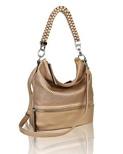 Bag Braided Shoulder Women's Hobo Handbag Shopper Copper Leather Tote Medium Crossbody Cq8nUdqz
