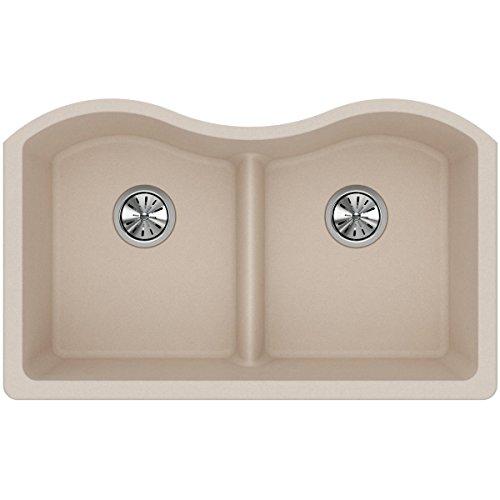 Bowl Equal Sink Kitchen (Elkay Quartz Classic ELGULB3322PT0 Putty Equal Double Bowl Undermount Sink with Aqua Divide)