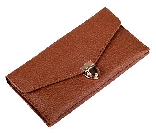 VIVOCH, RFID Blocking Wallet Ladies Luxury Leather Clutch Travel Purse for Women or Girls, W03, Khaki
