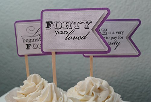 All About Details Purple Grape 40th Birthday Quotes Cupcake Toppers, Set of 12 ()