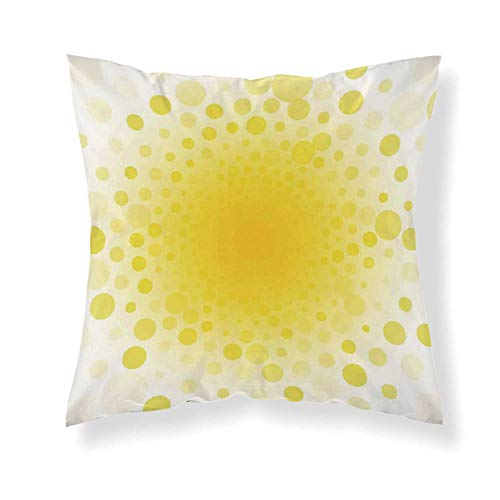 YOLIYANA Yellow Comfortable Throw Pillow,Abstract Small Circular Dots Patterns and Forms Centered Sun Spot Chic Decorative Art Home for Home Office
