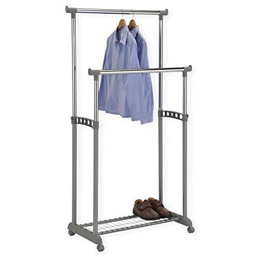 Garderobenwagen Kleiderständer Rollgarderobe Garderobenständer GROSSO, mit Schuhablage, 2 Kleiderstangen, höhenverstellbar, Metallrohr verchromt