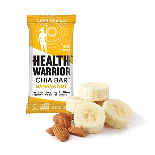 HEALTH WARRIOR Chia Bars, Banana Nut, Gluten Free, 25g bars, 15 (Health Nut)