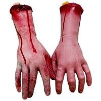 Brazos y manos ensangrentadas humanas, partes de cadáver