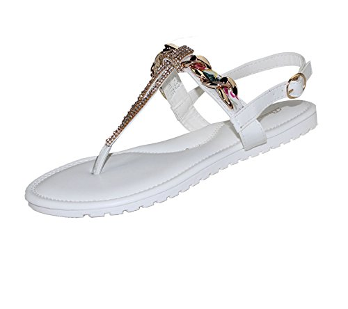 KOLLACHE Womens Buckle Flat Summer Caual Diamonte Ladies Evening Party Sandals White LIJw17v