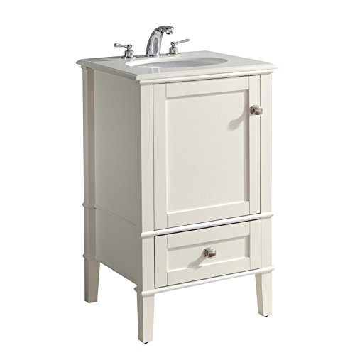 Simpli Home HHV029H-20 Chelsea 20 inch Contemporary Bath Vanity in Soft White with Bombay White Engineered Quartz Marble Top