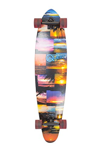 Quest Island Sunset Pintail Longboard Skateboard, Multicolor, 42