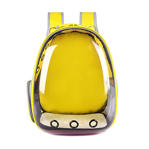 yangxiurongdedian Pet Backpacks?Portable Pet Cat Dog Puppy Backpack Carrier Bubble 360 Degree Transparent Space Capsule Backpack, Yellow