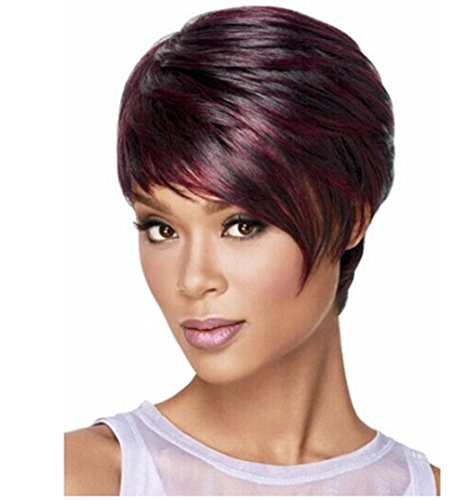 Diforbeauty Women Fashionable Short Curly Two Tone Wine Mix Black Wigs for Cosplay Party Daily Use (Short Curly Red Wigs For Women)