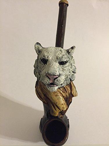 Handmade Tobacco Pipe, White Tiger Design