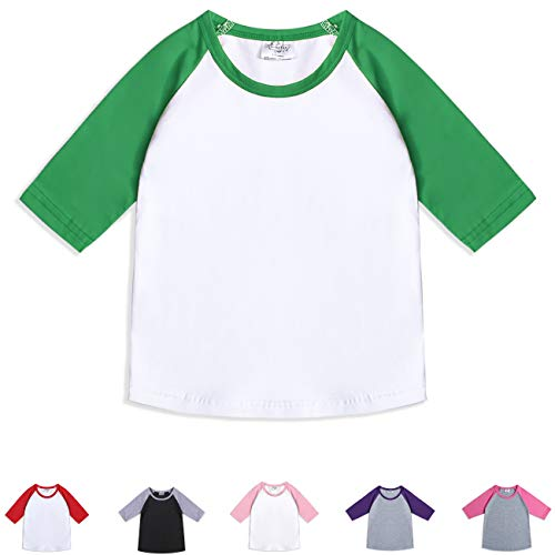 - CloudCreator Toddler Baby Girls Boys 3/4 Sleeve Shirts Raglan Shirt Baseball Tee Cotton T-Shirt (Green&White, 1-2 Years)