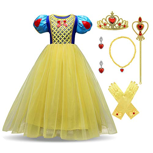 LENSEN Tech Little Girl Princess Snow White Costume Yellow Dress Up with Accessories(Yellow with Accessories, 6)]()