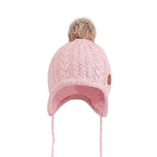 - Cutegogo Christmas Crochet Baby Beanie Earflaps Little Girl Boy Knit Infant Hats Winter Warm Cap Lined Polyester Santa (Pink, M)