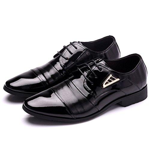 LEDLFIE Chaussures en Cuir pour Hommes Chaussures Décontractées Couture à La Mode Chaussures pour Hommes Noir GA1g7Gou