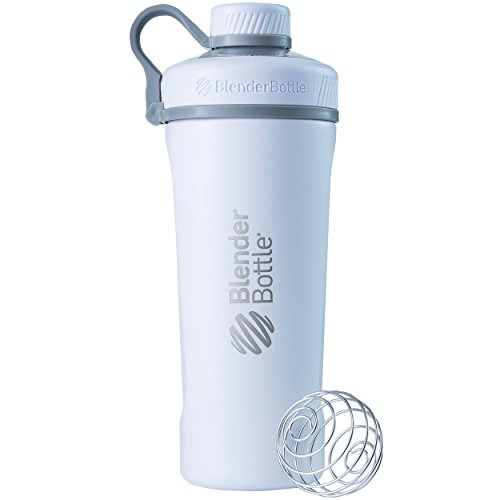 BlenderBottle Radian Insulated Stainless Steel Shaker Bottle, Matte White, 26-Ounce - C02091 (Glass Insulated Beverage Bottle)