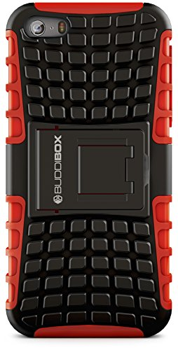 iPhone 5s Case, BUDDIBOX [Wave] Slim Rugged Durable Protective Case with Kickstand for Apple iPhone 5 and 5s, (Red)