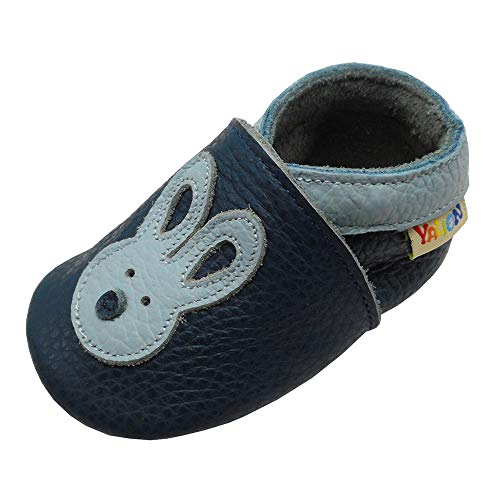 - Yalion Baby Soft Leather Shoes with Suede Sole Anti-Slip Infant Toddler First Walking Crib Moccasins Cartoon Rabbit(Steel Blue,6-12 Months)