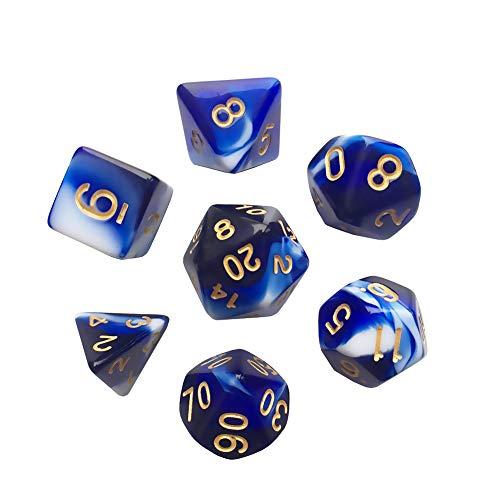 Polyhedral 7-DND Dice Set, Gem Blue Dice Sets For RPG MTG Table Games Dice, D4 D6 D8 D102 D12 D20 of Sapphire ()