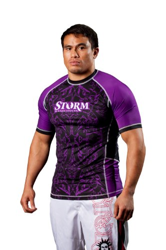 Storm Kimonos Rhythm Short Sleeve Rashguard, Purple (Pro Sleeve Short Guard Rash)