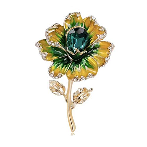 Wedding Brooch pins Women Bouquet Rhinestone bee Rose Flower Butterfly Pearl (MO Gold Flower Green)