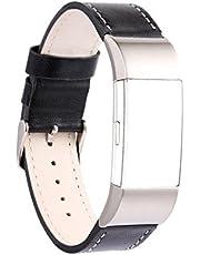 AnGolf voor Fitbit Charge 2 Band Leer, AISPORTS Gek Paard Leer Smart Horloge Polsband Verstelbare Vervangende Band met Metalen Armband Gesp Sluiting voor Fitbit Charge 2 Smart Fitness Tracker, Large, Zwart