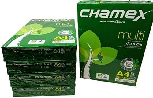Chamex Premium-Multifunktionspapier 2500 Blatt Ultrahohes weiß DIN A4 500 Blatt, 80gr/m², Qualitätspapier Druckerpapier, Kopierpapier, Injekt, Laserpapier Fotokopierpapier | Fax 100% Chlorfrei