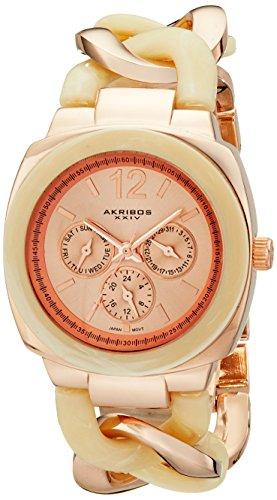 Akribos XXIV Women's 'Ultimate' Quartz Metal and Alloy Dress Watch, Color:Two Tone (Model: AK641RG)