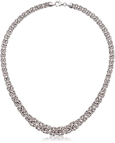 Italian Sterling Silver Chunky Diamond-Cut Byzantine Chain Necklace, - Graduated Byzantine Necklace