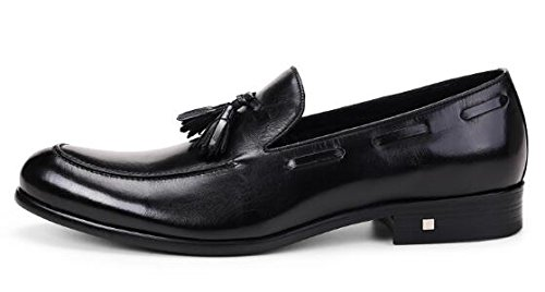 Happyshop (tm) Mens Läder Tofs Oxfords Spetsig Tå Derbyn Slip-on Affärer Skor Svarta