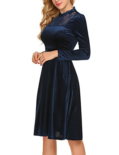 Swing Lace Women's A Elegant Patchwork Blue Big Line Dress Sleeve ACEVOG Long Vintage Navy vdtwWn4q