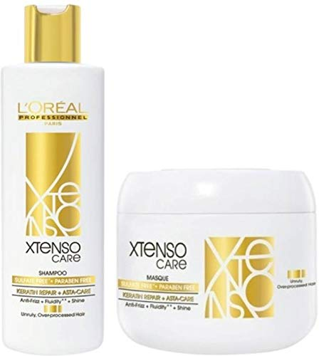 Amazon Com L Oreal Professionnel X Tenso Care Shampoo 250ml 8 45 Fl Oz Masque 196g 6 91 Oz Sulfate Free Paraben Free Combo Pack Beauty