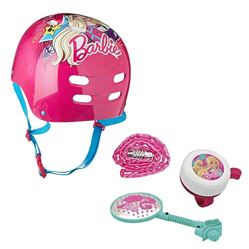 Creekside Deals Barbie Pink Passport Bike Helmet Ages 5-8 & Barbie Bike Accessory Starter Kit – Bundle