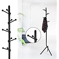 11 Hook Stylish Modern Coat Rack Hall Tree Cap Rack Cloth Hanger For Bedroom Bathroom Entryway - Black Metal
