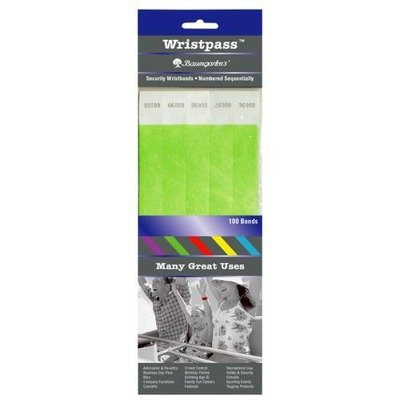 Wristpass Wristbands (Sicurix Wristpass Security Wristbands, 3/4quot; X 10quot;, Green, 100/pack By: Baumgartens)