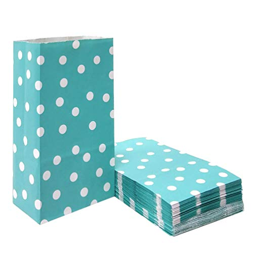 100 PCS Teal Paper Party Favor Bags Polka Dot Paper Lunch Bags for Snack Nuts Goodie Treat Bags for Kids' Birthday Wedding Party Favor Bags(5.1 x 3.1 x 9.4 in Teal Blue) -