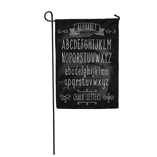 Semtomn Garden Flag 28x40 Inches Print On Two Side Polyester Alphabet with Hand Written ABC Letters and on Black Chalk Design Text English Home Yard Farm Fade Resistant Outdoor House Decor Flag ()