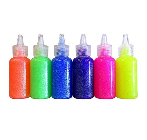 6 Color Glitter Glue Set 20 ml Bottles - NEON Colors - Green, Orange, Pink, Yellow, Blue, and Purple (1 Unit)